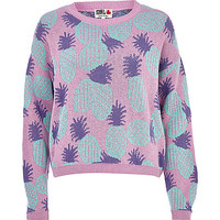 River Island Womens Lilac Chelsea Girl pineapple crop sweater
