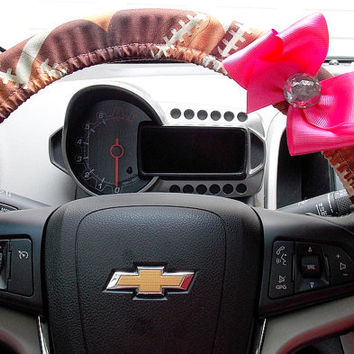 Steering Wheel Cover Football Fan Choose Your Color of Bow for Team Spirit!