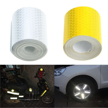 3m X 5cm Fluorescence Pure Yellow Reflective Car Truck Motorcycle Sticker Safety Warning Signs Conspicuity Tape Roll Hotsale
