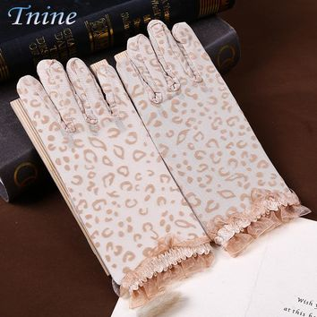 TNINE 2017 Summer Women Screentouch Gloves Sun Uv Protection Driving Gloves Anti-skid Sexy Leopard Lace Design Breathable Gloves