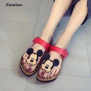2017 New style cork women's summer shoes Flat with sandals female slippers Mickey cart