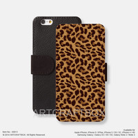 Leopard Pattern iPhone leather wallet cover iPhone case Samsung Galaxy case 013