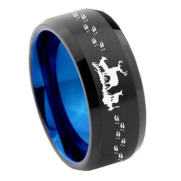8mm Deer Hunting Bevel Tungsten Carbide Blue Mens Promise Ring