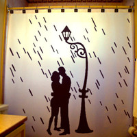 Lovers in the Rain Shower Curtain Love Romance Couple Lamp Post romantic raining valentine's day