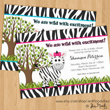 Wild Zebra Baby Shower Invite, Jungle Zoo Party Invitation - Printable, Digital, Custom, Girl or Boy, Zebra Print, Pink, Blue