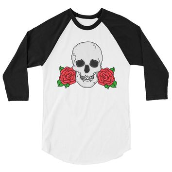 Skull and Rose Baseball Tee
