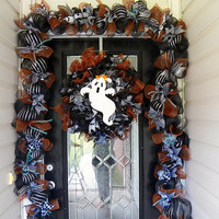 Made to Order  Halloween Wreath with Matching Garland