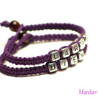 Carpe Diem, Seize the Day, Royal Purple Hemp Bracelets, Macrame Jewelry, Accessory, Gifts for Her