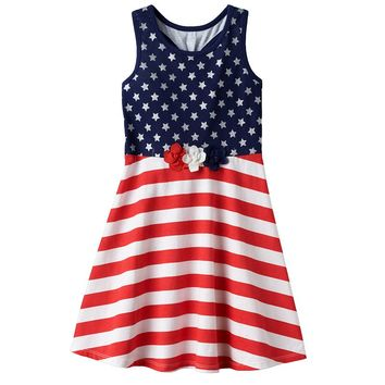 Jumping Beans Stars & Stripes Skater Dress - Toddler Girl, Size:
