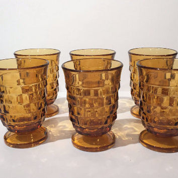 Colony Amber Whitehall Footed Glasses Set of 6 Juice Glasses, Vintage Cocktail Glasses