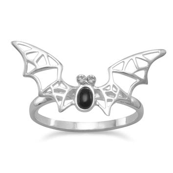 Sterling Silver Black Onyx and Crystal Bat Ring