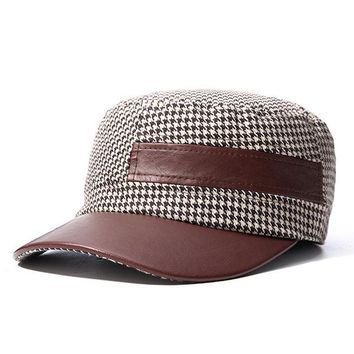 Mens Women Tweed PU Patchwork Lattice Flat Top Hat Casual Flexible Visor Hats