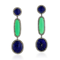 Pave Diamond 18k Gold Gemstone Dangle Earrings