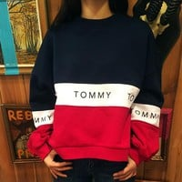 Tommy Hilfiger Women Color matching Scoop Neck Long Sleeve Pullover-2