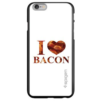 DistinctInk® Spigen ThinFit Case for Apple iPhone or Samsung Galaxy - White Bacon Writing I Heart Bacon