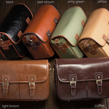Leather Canon Nikon DSLR Camera Messenger Shoulder Bag