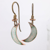 Tiny Enameled Crescent Moon Earrings