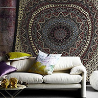 Popular Handicrafts Hippie Mandala Bohemian Psychedelic Intricate Floral Design Indian Bedspread Magical Thinking Tapestry 84x90 Inches,(215x230cms) Light Green Red