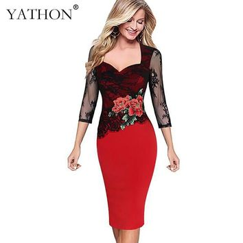 YATHON Womens Plus size S-5XL Summer Bodycon Dress Floral Lace Embroidered Hollow Out Office Work Casual Party Dresses Vestidos