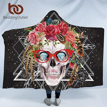 BeddingOutlet Velvet Plush Hooded Blanket for Adults Skull With Glass Floral Sherpa Throw Blanket Flowers Microfiber 150cmx200cm