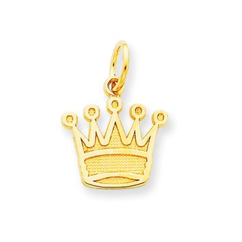 14k Yellow Gold Flat Kings Crown Charm or Pendant, 13mm (1/2 inch)