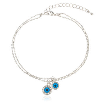 Silvertone with Blue Evil Eye Adjustable 8 Inch Metal Beaded Anklet with Stones