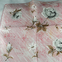 Vintage Hankie Handkerchief, Pink Artistic Background and Gray Flowers,  Great for  Framing, Sewing, Crafts, Collage    H43