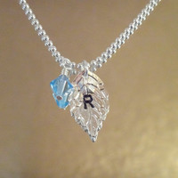 Personalized Leaf Birthstone Necklace-personalized necklace, inital necklace, gift for friend