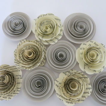 "Gray & Book page paper flowers, 10 piece set, 1.5"" roses, rustic wedding theme, grey baby shower decor, place setting favors table decor"