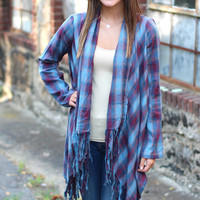 Hayride Plaid Cardigan {Blue + Wine}