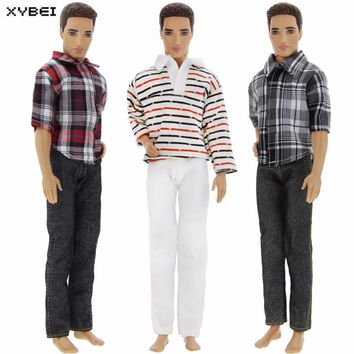 3 Sets Outfit Daily Casual Wear Handmade Fashion Costume Horizontal Stripes Trousers Clothes For Barbie Ken Doll 1/6 Dollhouse