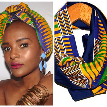 African Print Scarf Head Wrap Tribal Print Kente Lined with 100% Cotton Spring Trendy Fashion