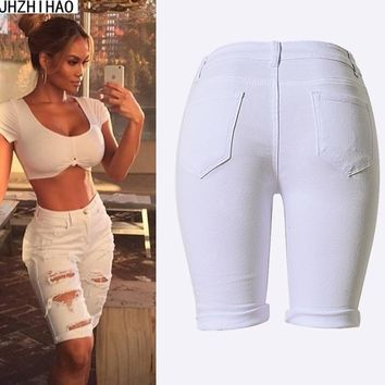 Pantalones Cortos Mujer New Arrival Summer White Shorts Women High Waist Shorts Ripped Short Jeans Woman Denim Shorts