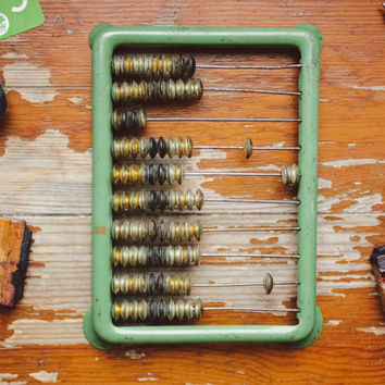 1950's Metal Abacus / Soviet Vintage Olive Green Counting Frame / USSR Mid Century Rustic Calculator w. Metallic Beads, Home Decor