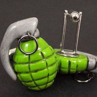 Hand Grenade Cuff Links in bright green