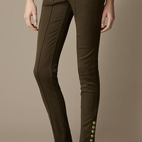 Press-Stud Stretch Sateen Denim Trousers