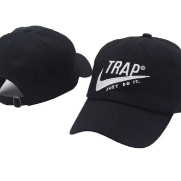 Retro Black Trap Embroidered Adjustable Outdoor Baseball Cap Hats