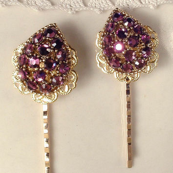 TRUE Vintage Plum Purple Crystal Rhinestone Gold Leaf Bridal Hair Pins, Heirloom WEISS Signed One of a Kind Gold Jeweled Bobby Pins Set of 2