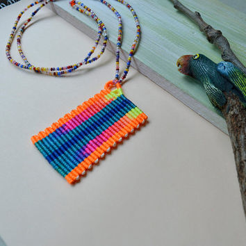 Bright rainbow micro macrame necklace, rainbow pendant, watercolor effect, colorful necklace, bohemian, hippie necklace, neon orange