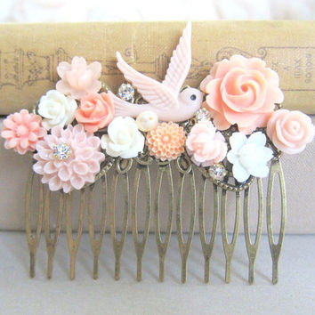 Peach Pink Wedding Hair Comb Pastel Blush Pink Tea Rose White Romantic Soft Bridesmaid Gift Bridal Head Piece Flower Floral Bird Shabby Chic