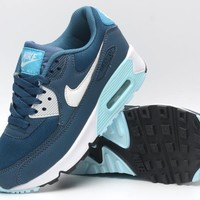 NIKE AIR MAX 90 fashion ladies men running sports shoes sneakers F-PS-XSDZBSH Peacock blue + white