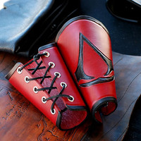Assassin's Creed Hand Tooled Leather Bracers / Vambraces for LARP/ Assassin's Creed Costume/  Halloween Costume / Renaissance Fair