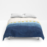 Blue waves and gold strokes Comforters by vivigonzalezart