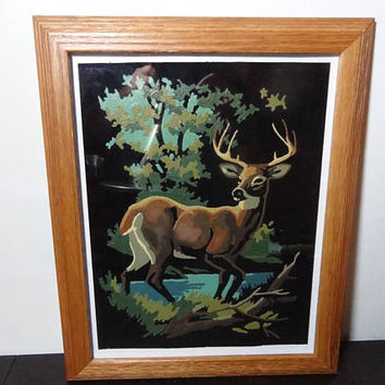 Vintage Framed Black Velvet Paint By Numbers Deer/Buck/Stag Woodland Painting - Oak Wood Framed Painting