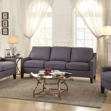 Acme 53755-56 2 pc Zapata gray linen fabric sofa and love seat set