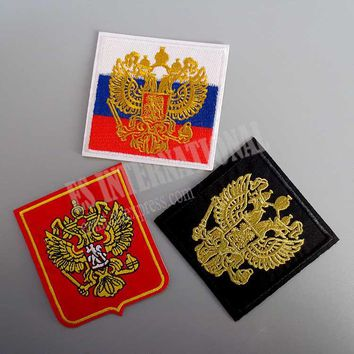 Embroidery Patches for Jacket Back Vest Motorcycle Biker Russia Badge Eagle 7.5cm