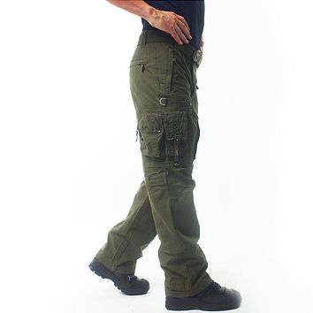 Winter Thicken Men's Cargo Pants Warm Slim Fit Pants Cotton Trousers For Men Male Military Camouflage Tactical