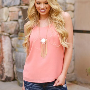 Rendezvous With You Racerback Tank - Coral