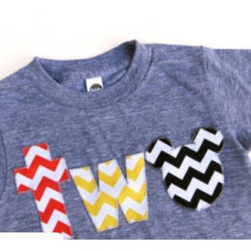 Mickey Mouse Birthday shirt, Disney Vacation, red yellow black chevron on triblend heathered grey tshirt 2 year old 2nd Birthday turning two cake party favors Mickey