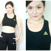 90s ADIDAS Sports Bra / Black Health Goth Cyber Grunge Athletic Sporty Spice Sleeveless Racerback Crop Top / Size M/L Medium Large